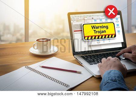 Warning Trojan Concept