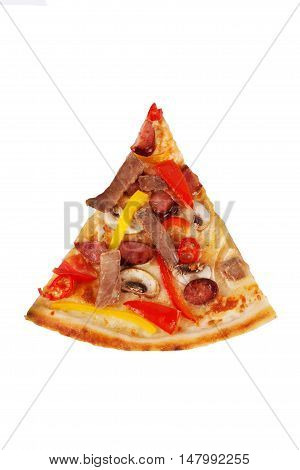 pizza with beef hunting sausages mushrooms for the menu on a white background