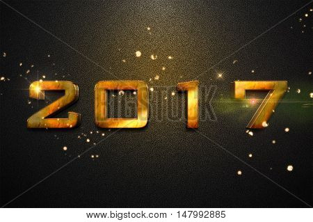 Year 2017 with metal effect gold 3d isometric on dark gray background