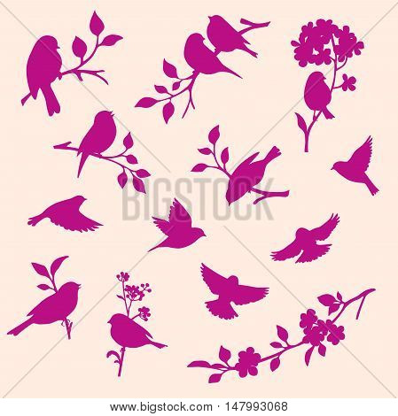 set of decorative bird and twig silhouettes