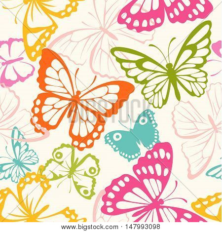 Vector seamless pattern with butterfly colorful silhouettes