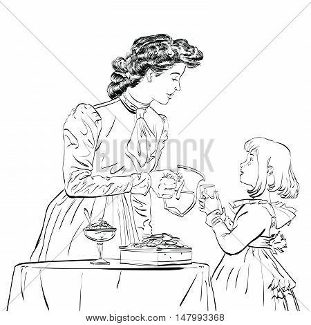 Aristocrat mother pouring her daughter a juice, hand drawn illustration