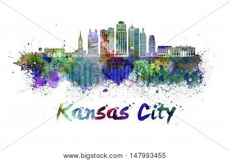 Kansas City V2 skyline in watercolor splatters with clipping path