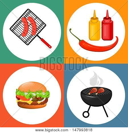 Summer barbecue party. Set of flat icons with grilled sausages cheeseburger and sauces. Vector illustration