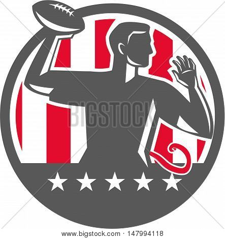 Illustration of a flag football player QB passing ball viewed from the side set inside circle with stars and stripes in the background done in retro style.