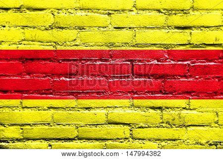 Flag Of Pasaje, Ecuador, Painted On Brick Wall