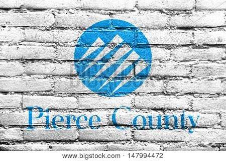 Flag Of Pierce County, Washington, Usa, Painted On Brick Wall