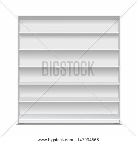 Supermarket blank shelf. Empty white long showcase for products on white background. Vector 3D illustration isolated.