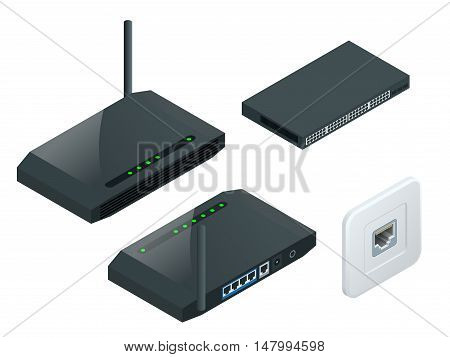 Isometric Wireless wi-fi router with one antennas isolated on white background. High speed internet connection, computer network and telecommunication technology.