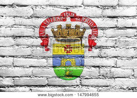 Flag Of Porto Alegre, Rio Grande Do Sul, Brazil, Painted On Brick Wall