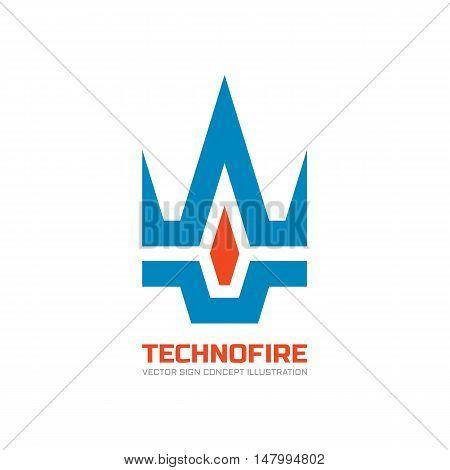 Techno fire - vector logo template concept illustration. Creative sign. Design element.