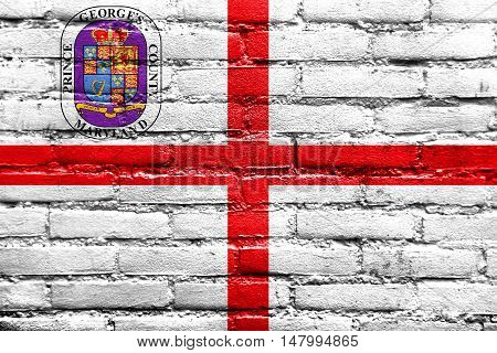 Flag Of Prince George's County, Maryland, Usa, Painted On Brick Wall
