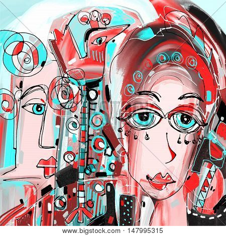 digital abstract painting of women face portrait colorful composition in contemporary modern art, perfect for interior design, page decoration, web and other, vector illustration