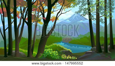 MOUNT FUJI IN SCENIC BACKGROUND