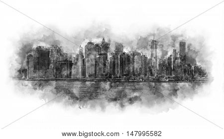 New York City Panorama - Manhattan and business office district silhouettes, very big size - Watercolor artwork