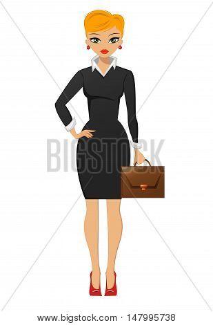 Beautiful businesswoman, cartoon style vector illustration. EPS10