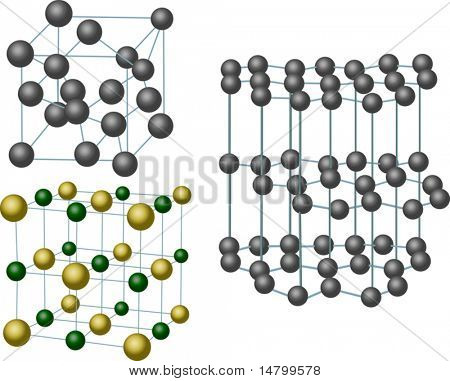 illustration with set of three crystal structures
