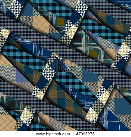 Seamless background pattern. Diagonal strips pattern in a trendy material design style. Plaid quilting ornament.