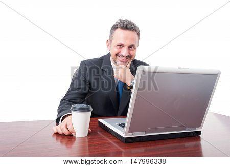 Man At Office Smiling Holding Coffee Mug
