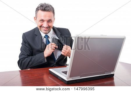 Business Man Or Worker Being Happy With Wallet