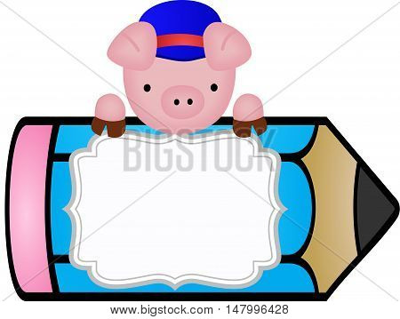 Scalable vectorial image representing a pig with pencil personalized label sticker, isolated on white.