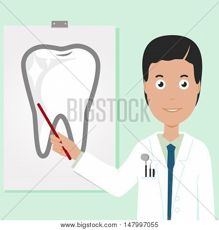 Dentist showing a healthy tooth pointing at a white board with a pointer stick.