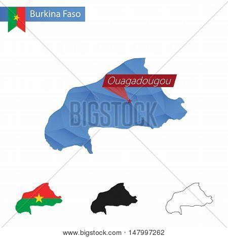 Burkina Faso Blue Low Poly Map With Capital Ouagadougou.