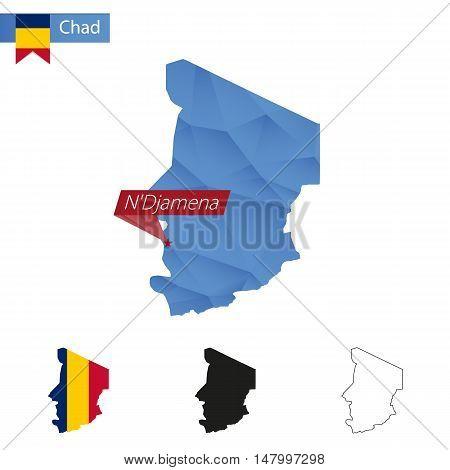 Chad Blue Low Poly Map With Capital N'djamena.