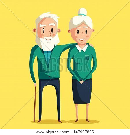 Happy grandparents. Vector cartoon illustration. Grandparents day. Grandpa and grandma standing full length smiling. Elderly couple. Love.