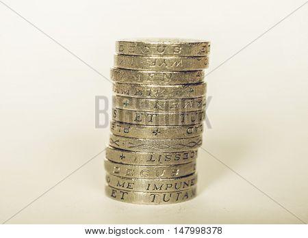 Vintage Pound Coin Pile