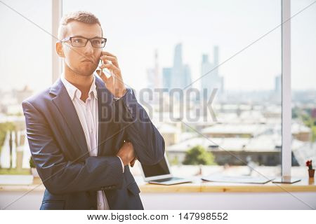 Handsome Young Man On Phone