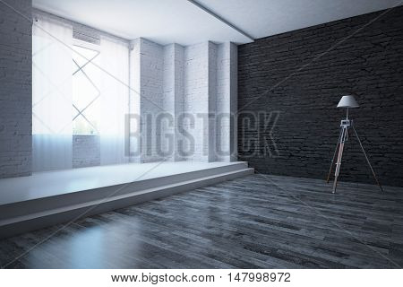 Modern white and black brick interior with wooden and concrete flooring window with city view curtains and floor lamp. Side view 3D Rendering