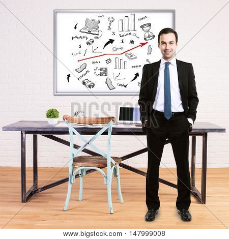 Happy businessman in suit standing in modern office with business sketch on whiteboard