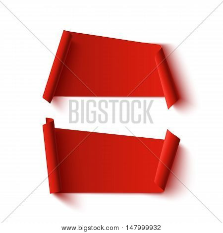 Two blank, red, abstract banners, isolated on white background. Vector illustration