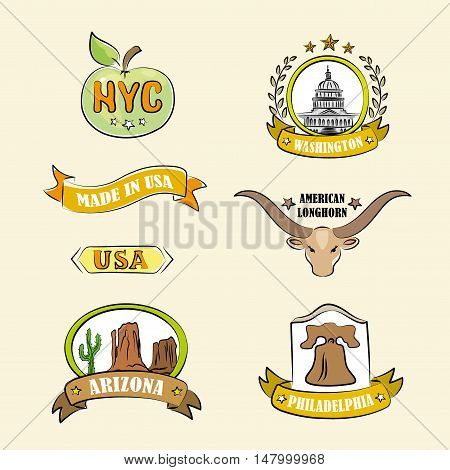 Logo or icon label of various US regions and places vector illustration
