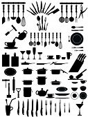 foto of kitchen utensils  - silhouettes of kitchen accessories - JPG
