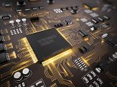 High tech electronic PCB (Printed circuit board) with processor, microchips and glowing digital elec poster