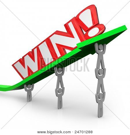 A team of people lift an arrow and the word Win, showing that when people work together they can accomplish great things and achieve victory in business or a competition