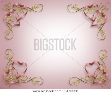 Pink Ribbon Hearts Corners