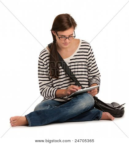 Casual Dressed High School Student Reading Holding Touch Pad PC on Isolated Background