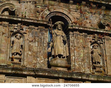 Excerpt From The Wall Above The Entrance To The Cathedral In Santiago De Compostela
