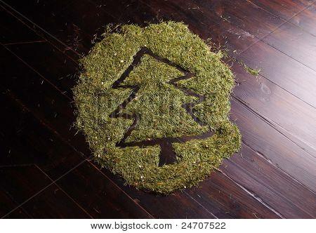 Abstrakte Bild Weihnachtsbaum gemacht Fir Nadeln auf Holzfußboden