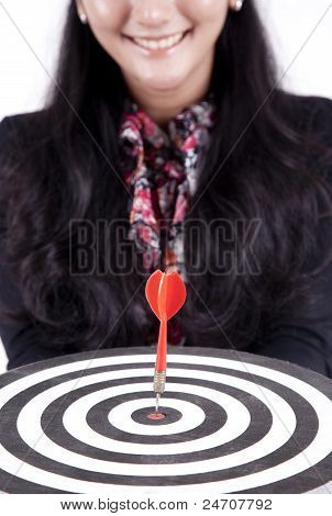 Asian Business Woman With A Bull's-eye
