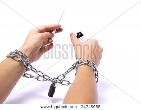 Hands Chained Cigarette Passionately Fighting