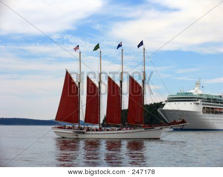Schooner Vs Cruise Ship