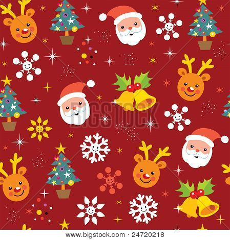 Christmas pattern with Santa and reindeer