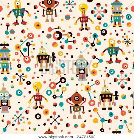 cute robots seamless pattern