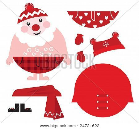 Dress Up Your Santa! Christmas Retro Icons & Design Elements..