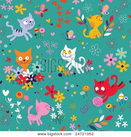 Kittens among flowers pattern