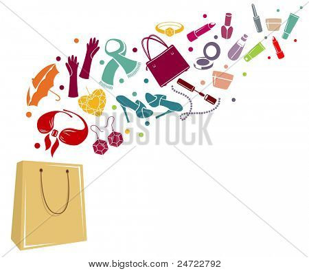 Different woman's things in bag. Coloured version.